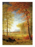 albert paintings - Albert Bierstadt s oil paintings for dining room Autumn in America Oneida County New York hand painted on linen