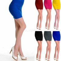 high waisted shorts - 2015 New Women Office Ladies Summer Slim Fit Bandage High or Low Waisted Stretch Mini Short Pleated Skirt s