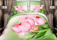 beautiful bedsheets - Girls beautiful tulip active printed cotton bedding sets queen quilt cover bedsheets pillow shams bedspreads pc comforter set