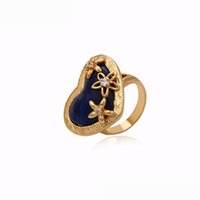 Wholesale Blue Heart Pattern Women K Gold Plated Ring Copper Jewelry Ring With Quality Cublic Zirconia Xuping Hot Sell Copper Ring For Gifts