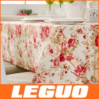 dyed fabric - 2015 Retro Cafe Coffee Table Country style cotton green canvas cloth cotton fabric rose dyeing activity table cloth DHL Free C
