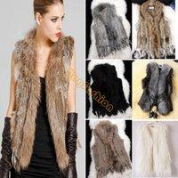 Wholesale 3 types For Choose Real Rabbit Fur Gilet With Raccoon Fur Collar Coat Faux Fur Leather Vest Faux Fur Coat Jacket Beige b6