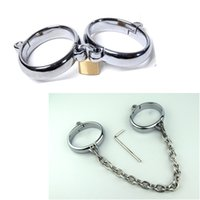 Wholesale Unisex Delicate Alloy Steel Handcuffs wrist and ankle cuffs with chain Bondage kit Restraints Slave Sex Toys