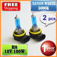 Wholesale 2 Pair V W H8 Halogen Lamp Super White K Quartz Glass Xenon Dark Blue Car HeadLight Bulb order lt no track