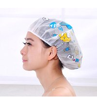 bathroom spa products - 2015 Women Ladies Clear Bath Spa Caps Elastic Waterproof Hats Comfortable Lovely Cartoon Shower Caps Bathing Bathroom Products