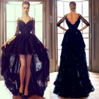 Wholesale 2015 Black Lace Hi Lo Evening Formal Dresses Sexy Off Shoulder High Low Long Sleeve Prom Party Dress High Quality