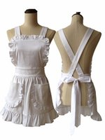 cotton apron - Japanese Style Women Elegant White Ruffle Cotton Apron Short Style with Corss Back Adult Cosplay Apron