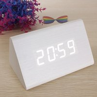 Wholesale New White Wood Triangular White LED Alarm Digital Desk Clock Wooden Thermometer