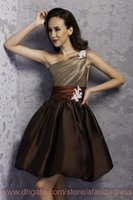 Cheap 2014 Short Taffeta Bridesmaid Dress Sexy One Shoulder Ruched Appliques Formal Party Prom Bridesmaids Dresses BO6926