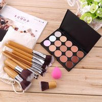 bamboo sponge - 15 Color Makeup Concealer Palette Bamboo Handle Brushes Sponge Puff Drop Shipping
