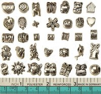 Wholesale european charms beads mixed set diy metal big hole antique silver bracelets wholesales bangles necklaces pendants jewelry findings