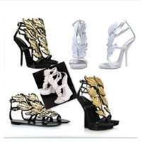 high heel sandals - New arrival luxury women sandals pumps designer gold leaf ladies sexy high heels real leather dress wedding shoes plus sizes for woman
