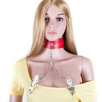 nipple clamps - Red Slave BDSM Collars With Nipple Clips Clover Clamps Female Neck Restraints Bondage Gear Sex Products ASL XQ0113
