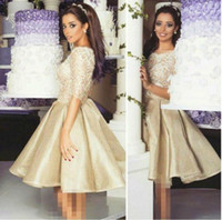 apple half - 2016 Arabic Middle East Half Sleeves Prom Dresses A line Satin Short Party Evening Gowns Cocktail Graduation Dress Homecoming Dresses