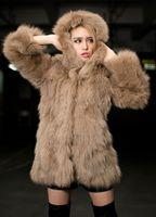 Cheap 1PCS Luxurious Women Imitation Khaki Hooded Fur Jacket Women Winter fur jacket Women long sleeved fur jacket Sexy women Windbreaker