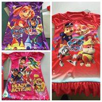 baby clothes snow - Kids clothing paw patrol baby pajamas new summer Cotton Cartoon Ruffle hem extra comfy clothes children homewear snow slide wholesales