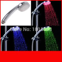 Wholesale 7 Color Changing LED Shower Head Automatic Control Sprink ABS Chroming No Need Power H4725 freeshipping dropshipping