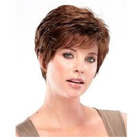 Wholesale Brown Color Short Curly Synthetic Hair Cheap Price High Quality No Tangling Fashion Wig