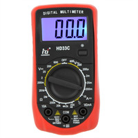 Wholesale HD HD33C Mini Digital Multimeter DMM Ammeter Voltmeter Ohmmeter Temperature Tester w LCD Backlight Professional