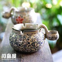 personalized ashtray - Kawashima house painted blue and white Japanese ceramic ashtray personalized gift ideas with sink