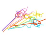 art straws - 100pcs Crazy Curly Loop Plastic Drinking Straws Art Healthy Colourful Birthday Wedding Party Decorations Fun Novelty