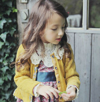 Wholesale Children grils knitting sweater lace collar kids outwear long sleeve cardigan Autumn fashoin new children clothing A6982