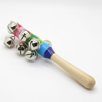 Wholesale Colorful Wooden Rainbow Handle Jingle Bell Rattle Toys For Kids Baby Infant intellegence development