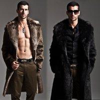 Wholesale Fall Men s Faux Fur Coat Long Sleeve Winter Coat Thick Fur Coat Jacket Winter Fashion Mens Overcoat Parka Plue Size XL XL H067
