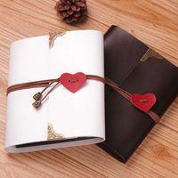 Wholesale Leather heart strap Photo Album Scrapbook Album wedding photo Album Wedding Guest Book black scrapbook album gift set