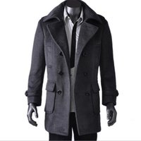 Wholesale Fall Fashion Men Pea Coat Winter Style Long Winter Coat Brand Pea Overcoat With Big Pocket Outdoor Windbreaker Plus Size MWN121