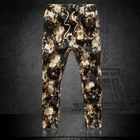 Wholesale New Thin section Casual Jogger Pants Mens Harem Trousers Floral Print Ankle Length Capri Linen Pants XL XL