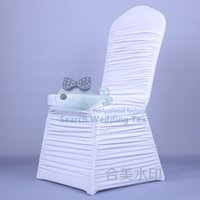 Cheap White Ruffled Spandex Chair Cover \ Cheap Price Wedding Stretch Lycra Chair Cover