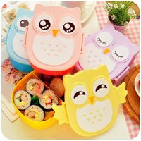 bento accessories - 4 Style Cartoon Cute Owl Bento Lunch Box Food Container Tableware Microwave Lunch Box Kitchen Accessories