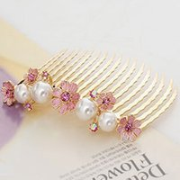 Wholesale pearl flower comb insert comb hair accessory hair accessory wheel fork female