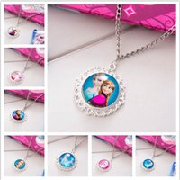 clothing chain - new arrive Frozen Necklaces Colorful Ribbon Necklace Cartoon Pendants Baby Clothes Girls Dress Accessories frozen necklace jewelry