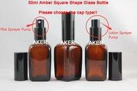 Wholesale 50ml brown pyramid glass oil bottle with black spray lotion bottle of makeup water bottles Elite fluid bottle