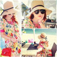 Stingy Brim Hat folding straw hat - 10pcs Women Straw Floppy Hats Summer Beach Folding Caps Wide Brim Hats With Thin Bowknot Ribbon ETT