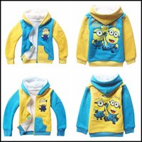 Wholesale Coral Boys Hoodies - 2015 kids cartoon Despicable Me 2 minions coral fleece 2 layered winter coat children boys girls velvet hoodies coats J060804#