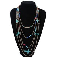 antique african beads - Antique Multilayer Chains Long Sweater Necklace Unique Jewelry Womens Fashion Turquoise Cross Skull Peace Charms Beads Necklaces Fr