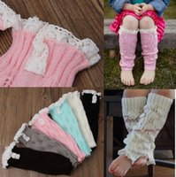 bamboo baby knitting - Leg Warmers Christmas Girls Knit Leg Warmer Crochet Lace Trim Leg warmers Baby Boot Cuffs Cover Socks Girls Lace Warmers hot