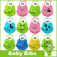 Wholesale Silicone baby bibs Infant Feeding Baby Kid Bib Fun Characters Waterproof cartoon image dhl jaguartee