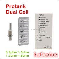 Cheap Protank Dual Wicks Coils 0.8ohm 1.0ohm 1.5ohm 1.8ohm for E Cigarette Protank 3 Mini Protank 3 Pro tank Dual Coils T3D EVOD 2 Glass Dual Coil