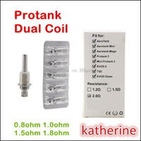 Cheap Protank Dual Wicks Coils 0.8ohm 1.ohm 1.2ohm etc for E Cigarette Protank 3 Mini Protank 3 Pro tank Dual Coils T3D EVOD 2 Glass Dual Coil