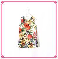 jumper dress - 2015 Babies Girls Floral Print Jumper Dresses Sleeveless Back Zipper Design Summer Cute Dress Princess Kid Girl Fashion Casual Dress