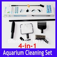 Wholesale EMS Aquarium cleaning set in fish net gravel rake cleaning sponge plant fork and cleaning sponge