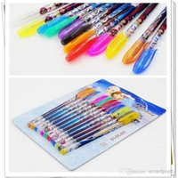 Wholesale 2015 Frozen Gel Pen Shining Glitter Ballpoint Writing Stationery Set Multi Color Pens with retail package Xmas children gift YY