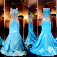 Wholesale Turquoise Satin Mermaid Evening Gown Crystals High Beaded Illusion Neck Back Plus Size Sexy Women Prom Pageant Dresses