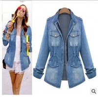 Wholesale spring autumn New women coat slim Denim Jacket Jeans women clothing Fashion pocket zipper casual female jackets