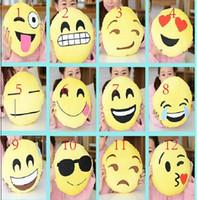 Wholesale Cushion cute lovely Emoji smiley pillows cartoon facial expression creative cusion pillows yellow round pillow stuffed plush toy