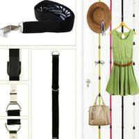 Clothing adjustable wire rack - Straps Hanger Adjustable Over Door Hat Bag Clothes Rack Holder Organizer Hooks set DHL